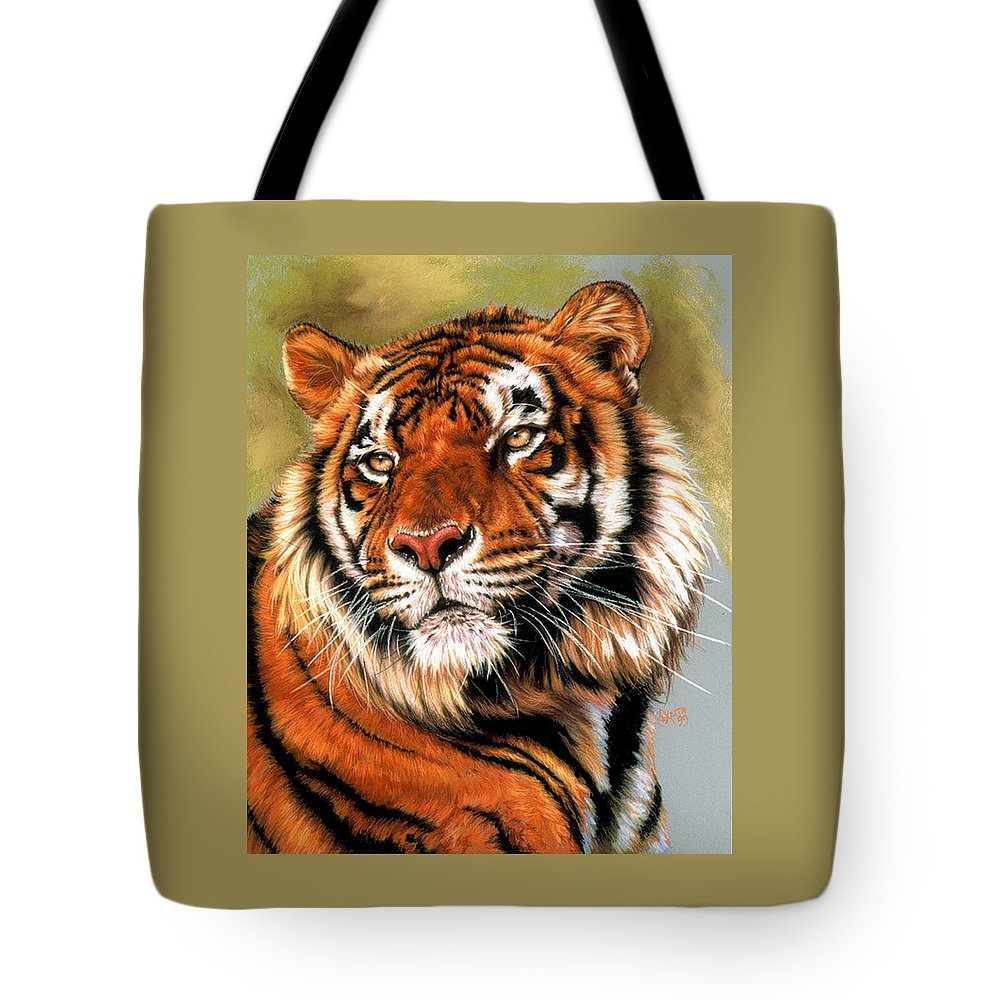 Tiger Tote Bag featuring the pastel Power and Grace by Barbara Keith