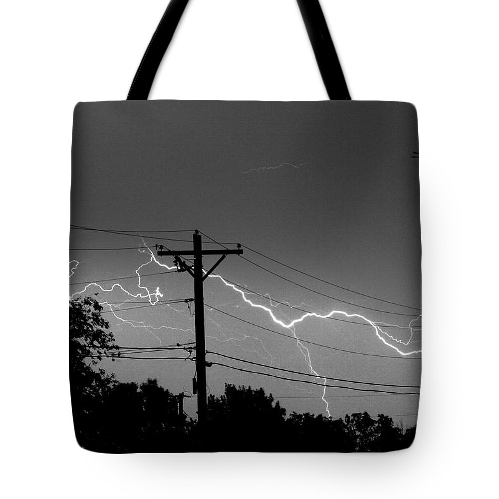 Lightning Tote Bag featuring the photograph Power Lines Bw Fine Art Photo Print by James BO Insogna
