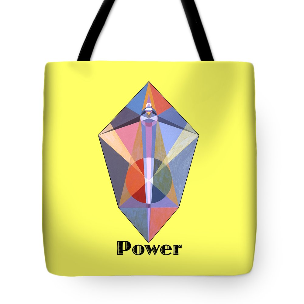 Painting Tote Bag featuring the painting Power text by Michael Bellon