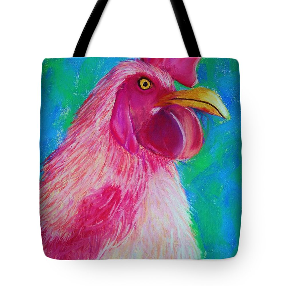 Rooster Tote Bag featuring the painting Powerful In Pink by Melinda Etzold