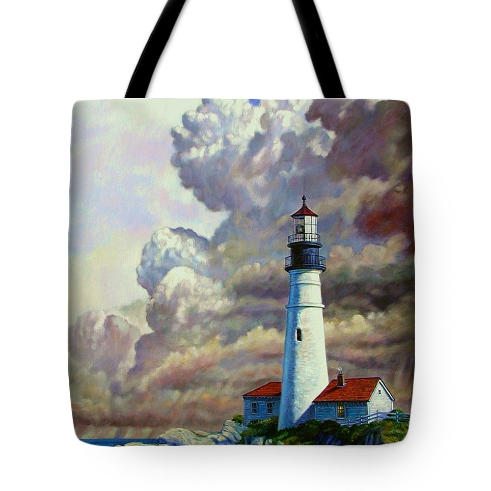 Lighthouse Tote Bag featuring the painting Powering Up by John Lautermilch