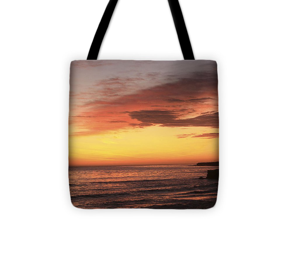 Landscape Tote Bag featuring the photograph pr 239 - Sunset at Santa Cruz by Chris Berry