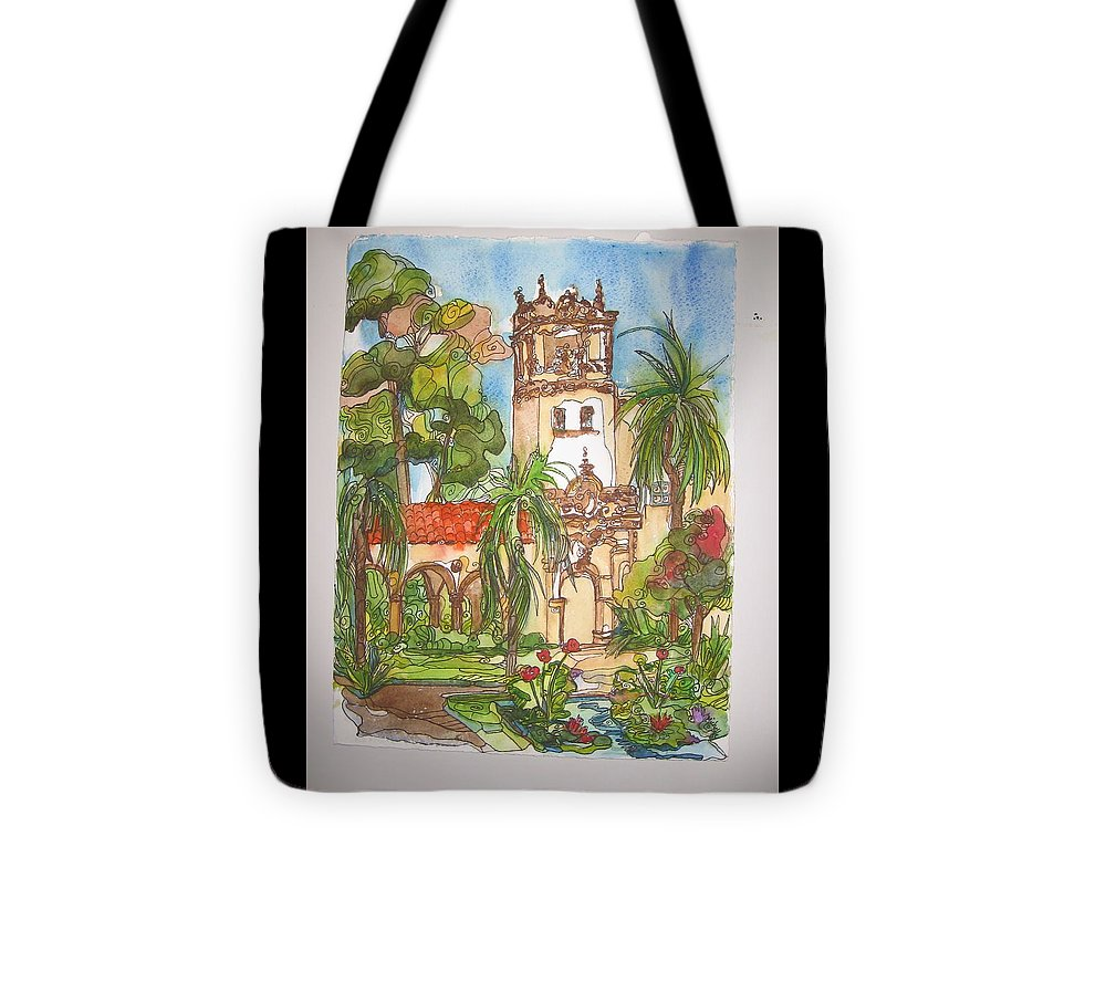 Landscape Painted On Location Tote Bag featuring the painting Prado- Balboa Park by Michelle Gonzalez