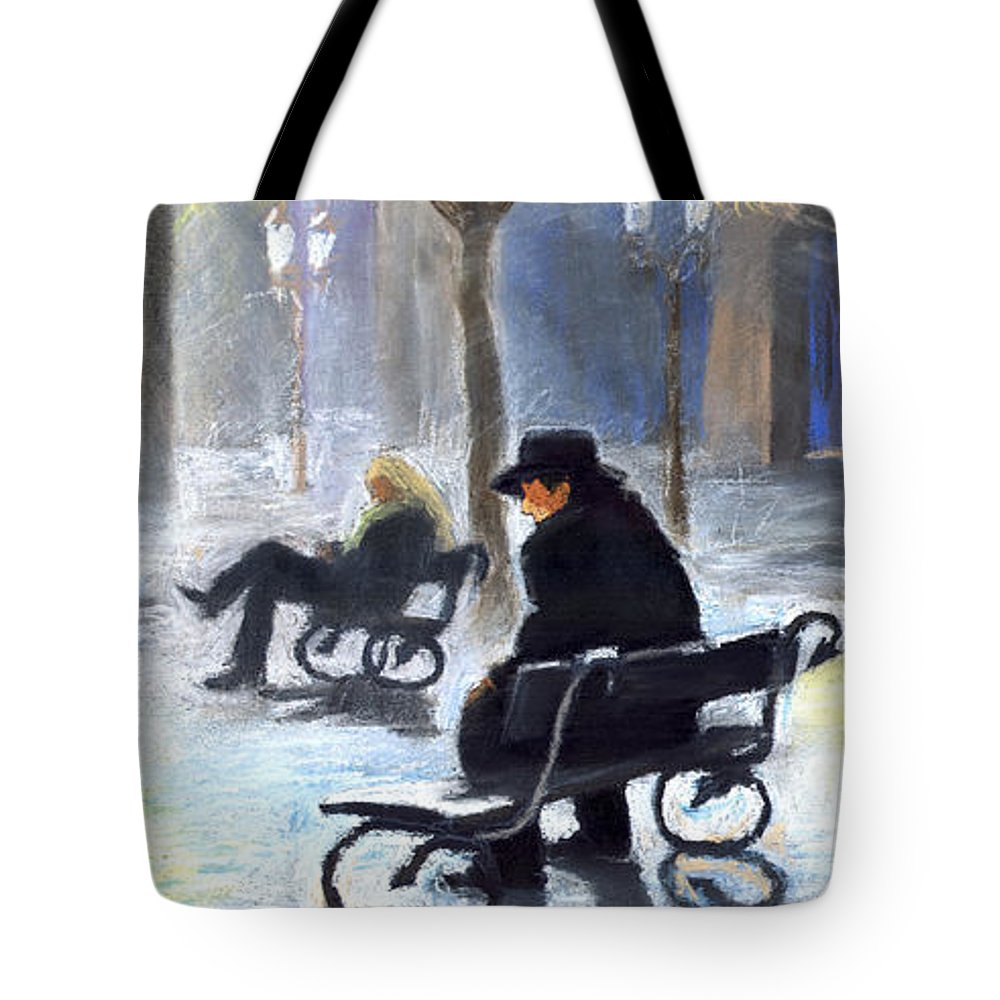 Prague Tote Bag featuring the painting Prague Autumn Ray by Yuriy Shevchuk