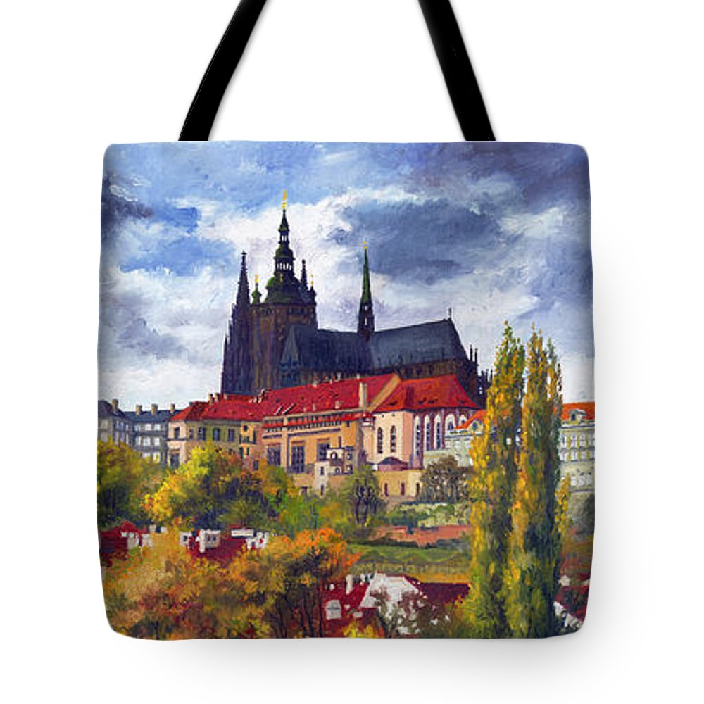 Prague Tote Bag featuring the painting Prague Castle With The Vltava River by Yuriy Shevchuk