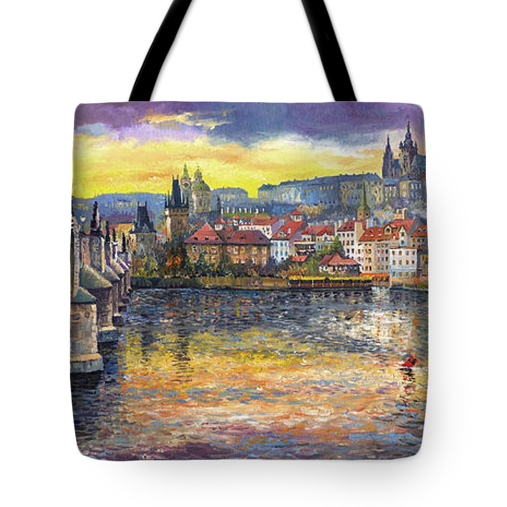 Oil On Canvas Tote Bag featuring the painting Prague Charles Bridge And Prague Castle With The Vltava River 1 by Yuriy Shevchuk