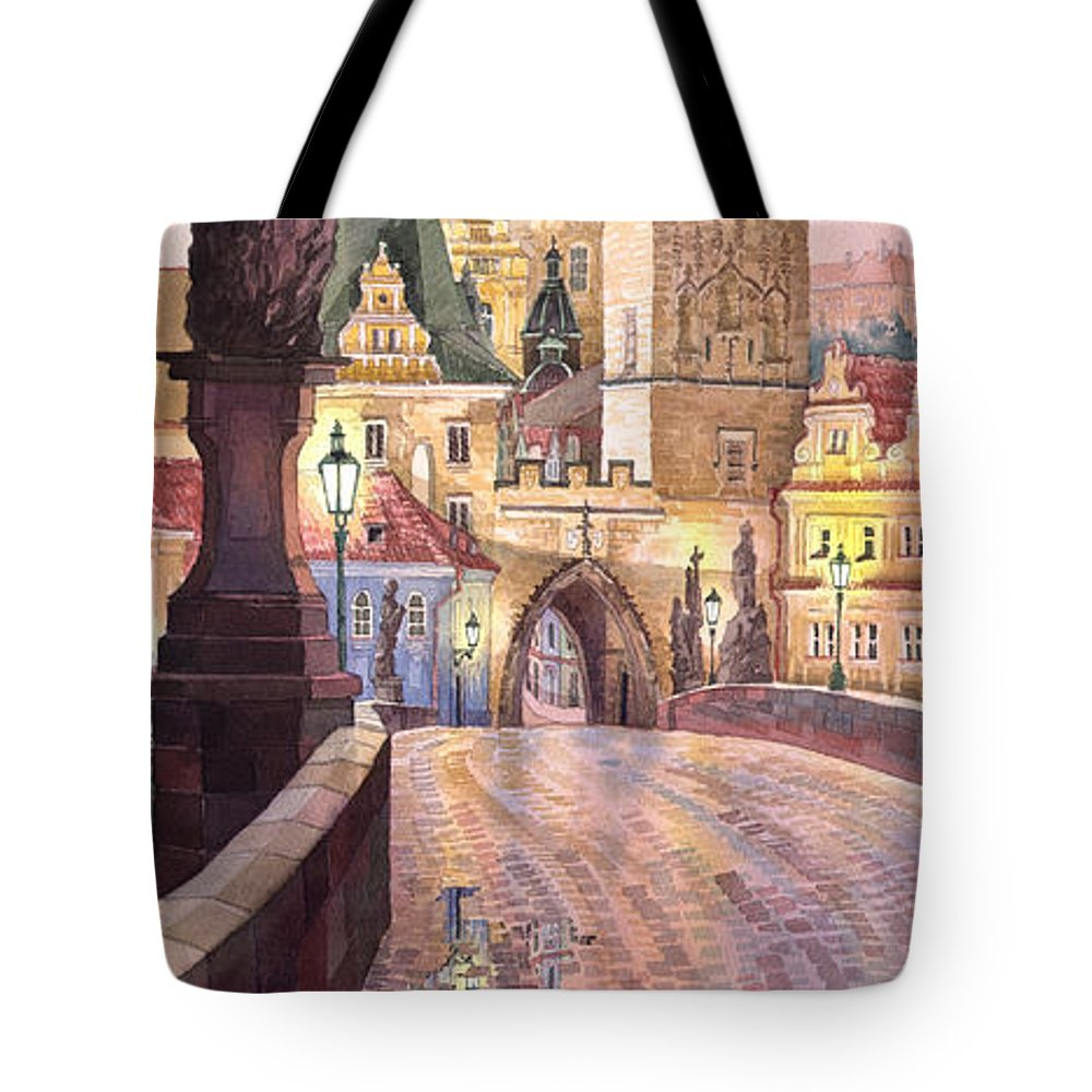 Watercolour Tote Bag featuring the painting Prague Charles Bridge Night Light 1 by Yuriy Shevchuk