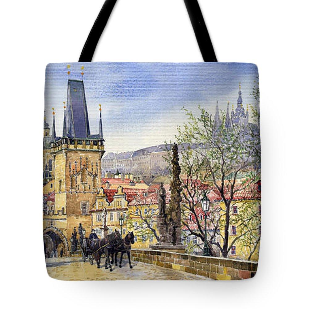 Watercolour Tote Bag featuring the painting Prague Charles Bridge Spring by Yuriy Shevchuk
