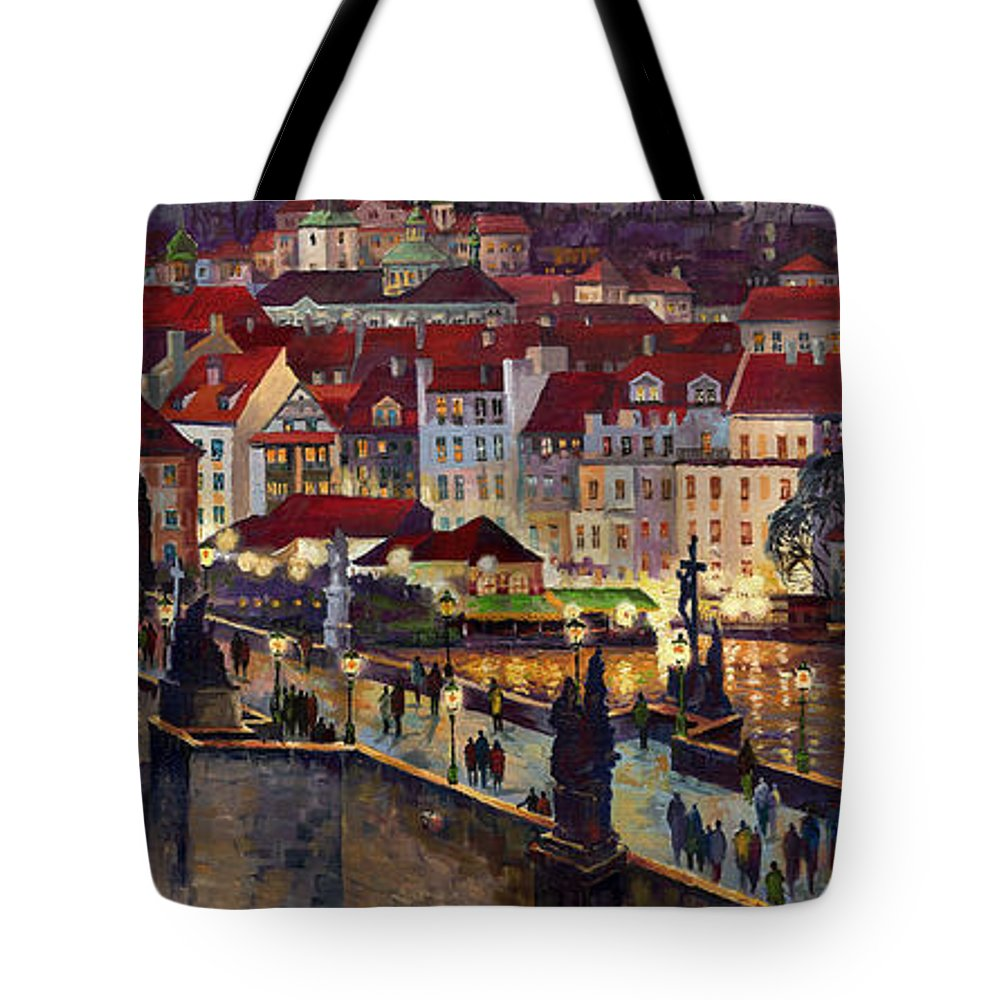 Prague Tote Bag featuring the painting Prague Charles Bridge With The Prague Castle by Yuriy Shevchuk