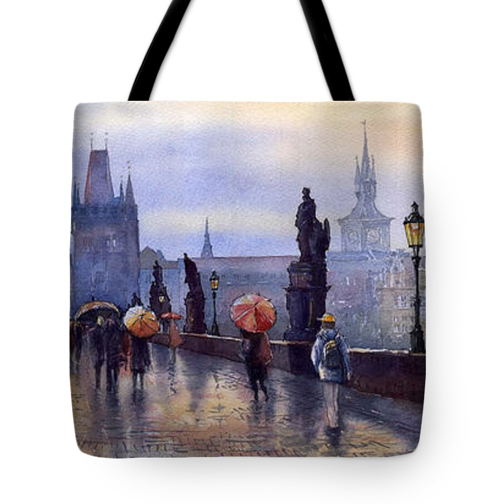 Cityscape Tote Bag featuring the painting Prague Charles Bridge by Yuriy Shevchuk