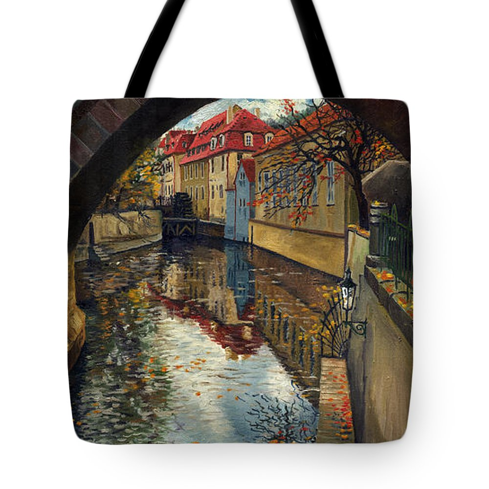 Oil Tote Bag featuring the painting Prague Chertovka 3 by Yuriy Shevchuk