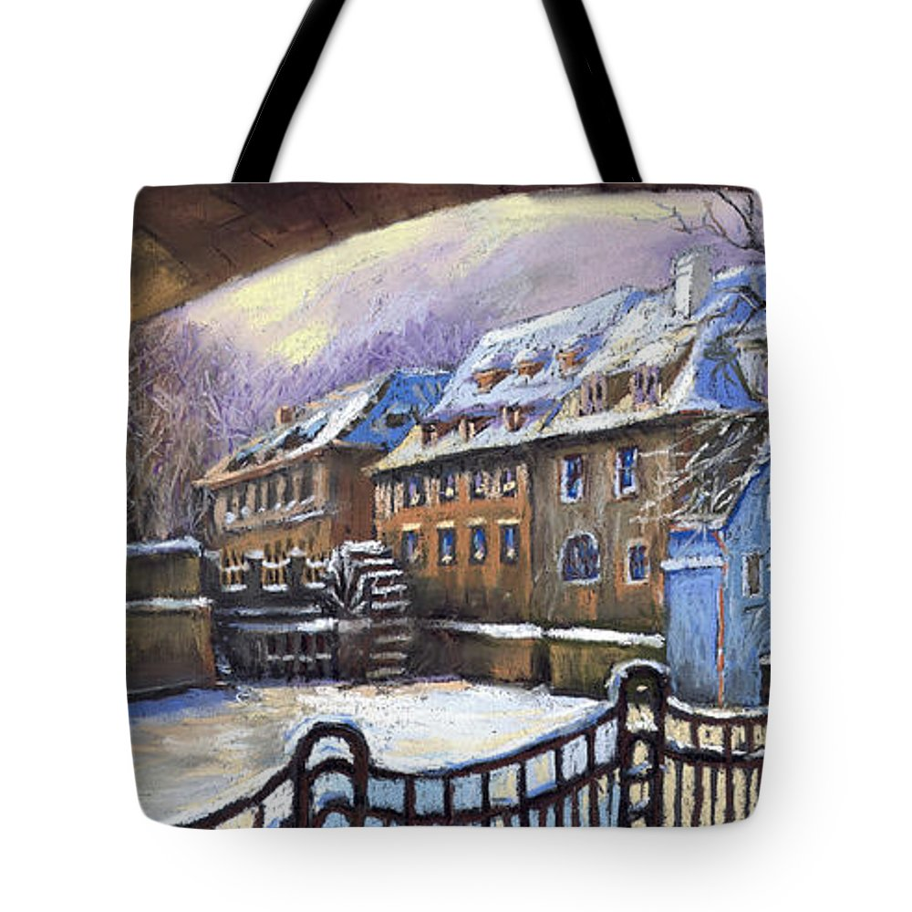 Pastel Tote Bag featuring the painting Prague Chertovka Winter 01 by Yuriy Shevchuk