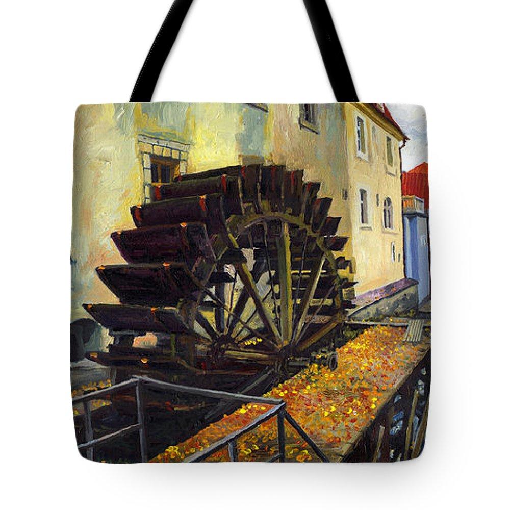 Prague Tote Bag featuring the painting Prague Chertovka by Yuriy Shevchuk