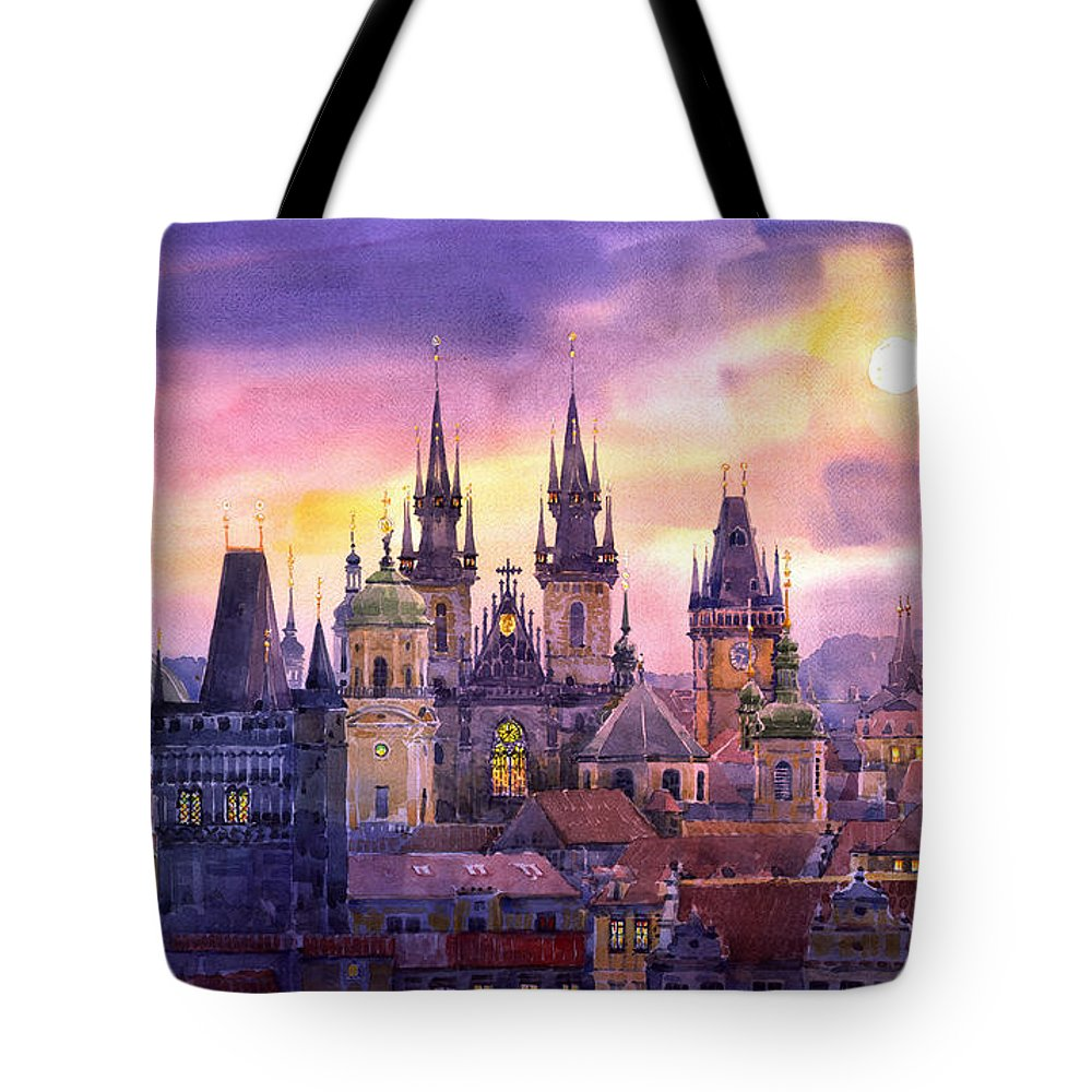 Architecture Tote Bag featuring the painting Prague City Of Hundres Spiers Variant by Yuriy Shevchuk