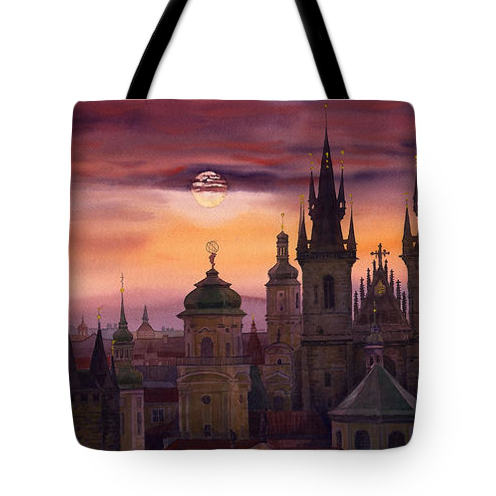 Cityscape Tote Bag featuring the painting Prague City Of Hundres Spiers by Yuriy Shevchuk