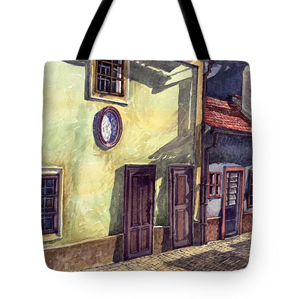 Watercolour Tote Bag featuring the painting Prague Golden Line Street by Yuriy Shevchuk