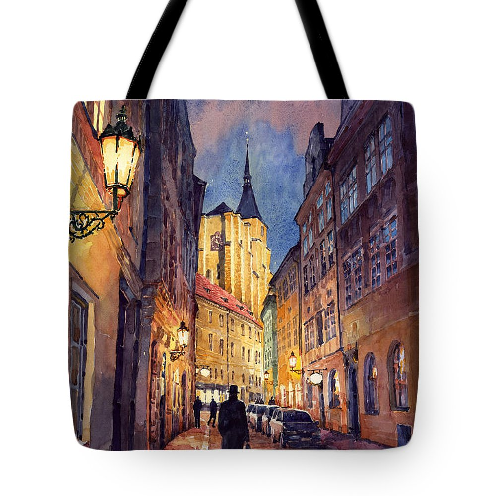 Architecture Tote Bag featuring the painting Prague Husova Street by Yuriy Shevchuk