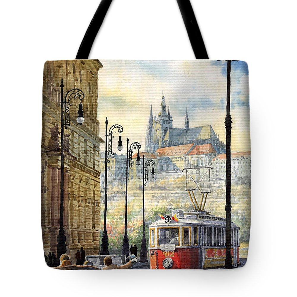 Architecture Tote Bag featuring the painting Prague Kaprova Street by Yuriy Shevchuk