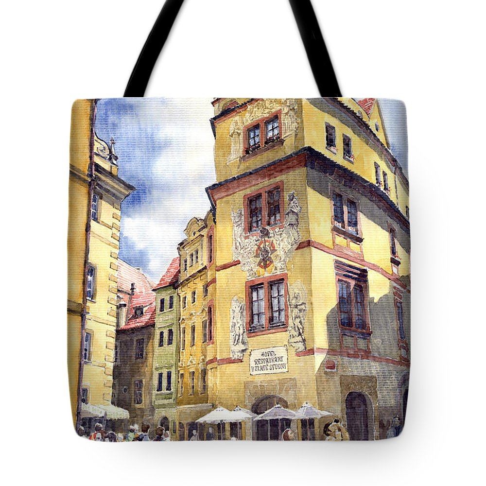 Architecture Tote Bag featuring the painting Prague Karlova Street Hotel U Zlate Studny by Yuriy Shevchuk