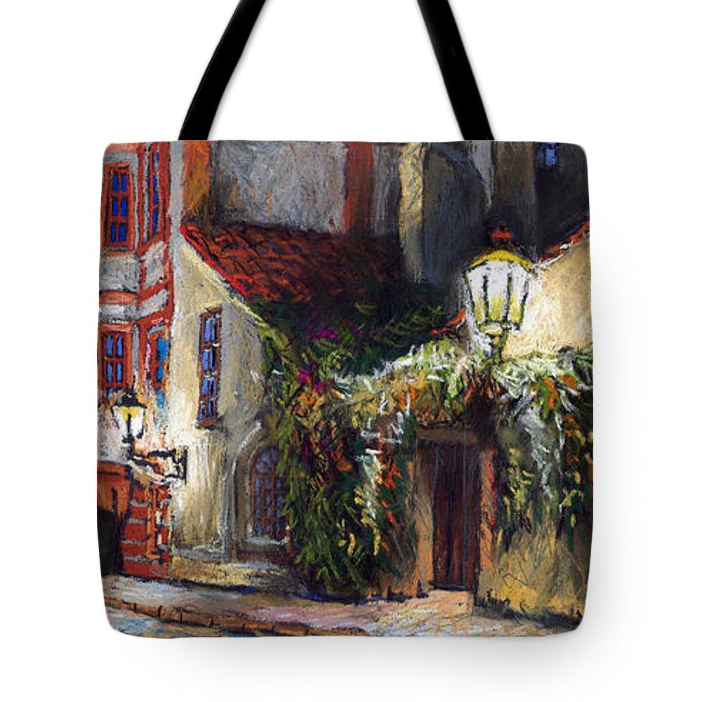 Prague Tote Bag featuring the painting Prague Novy Svet Kapucinska str by Yuriy Shevchuk