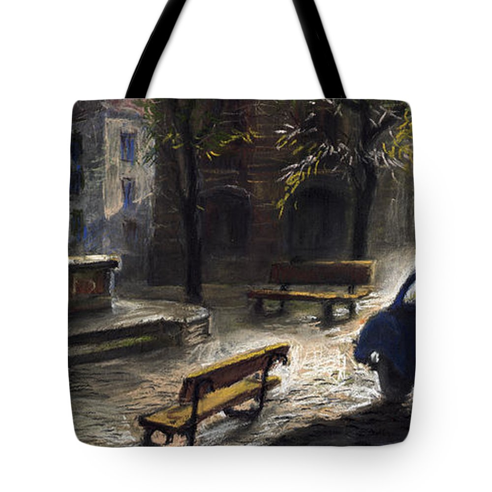 Prague Tote Bag featuring the painting Prague Old Fountain by Yuriy Shevchuk