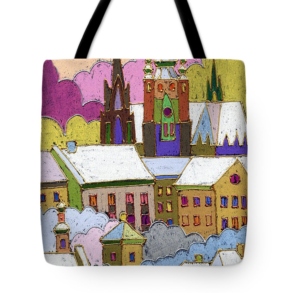 Pastel Tote Bag featuring the painting Prague Old Roofs Prague Castle Winter by Yuriy Shevchuk