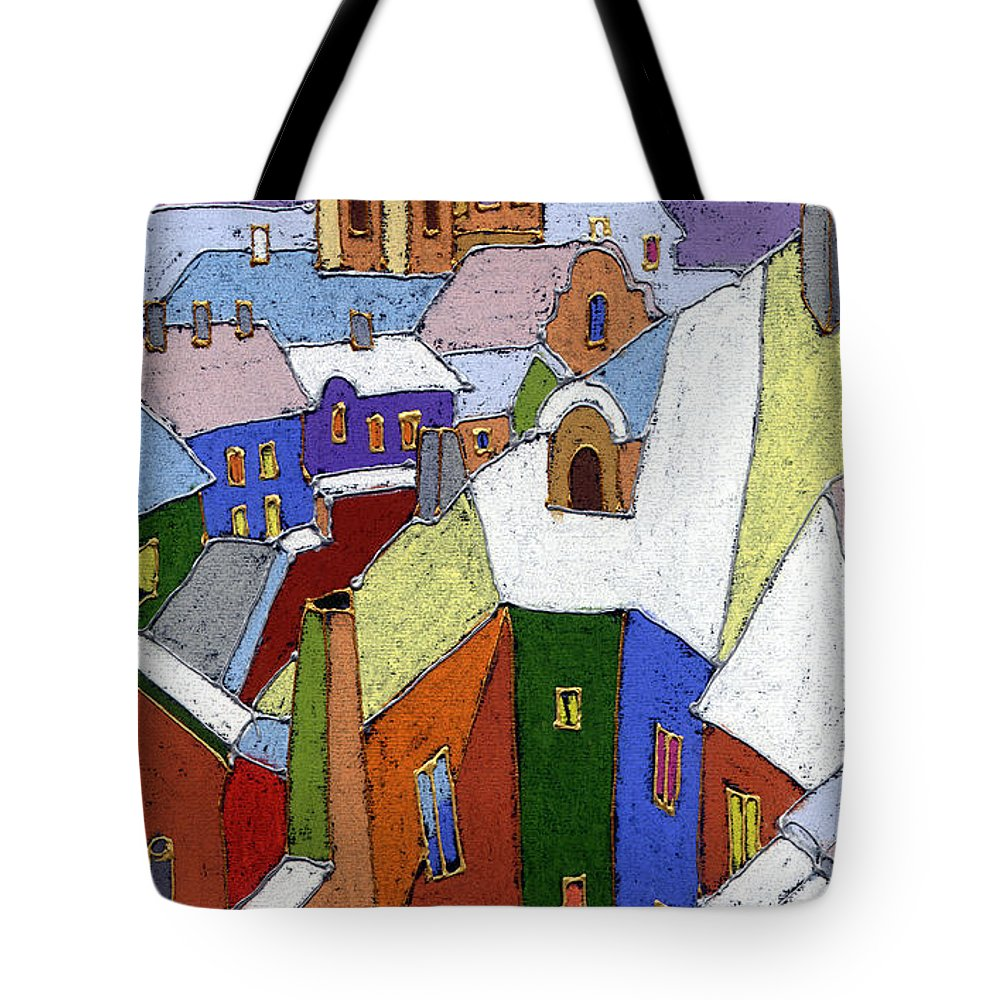 Pastel Tote Bag featuring the painting Prague Old Roofs Winter by Yuriy Shevchuk