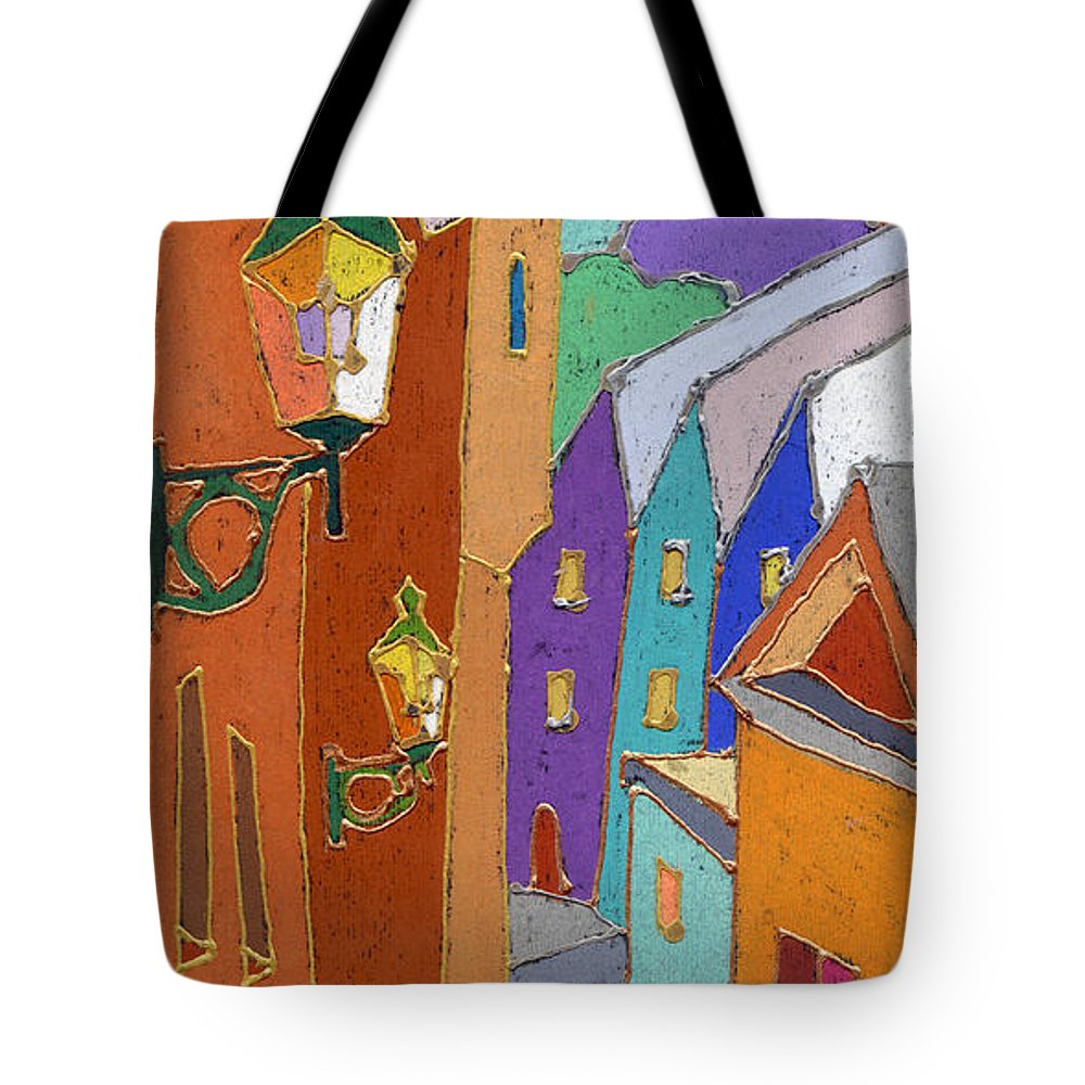 Pastel Tote Bag featuring the painting Prague Old Steps Winter by Yuriy Shevchuk