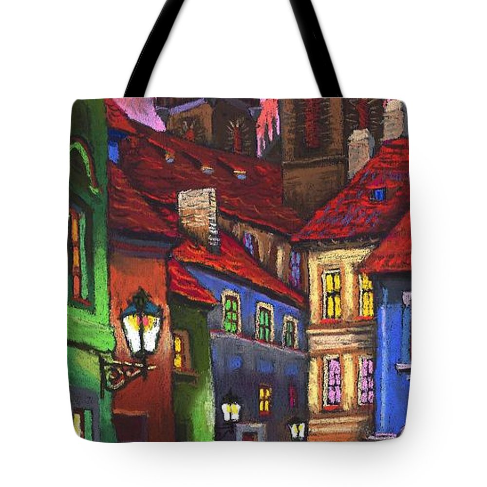 Pastel Tote Bag featuring the painting Prague Old Street 01 by Yuriy Shevchuk