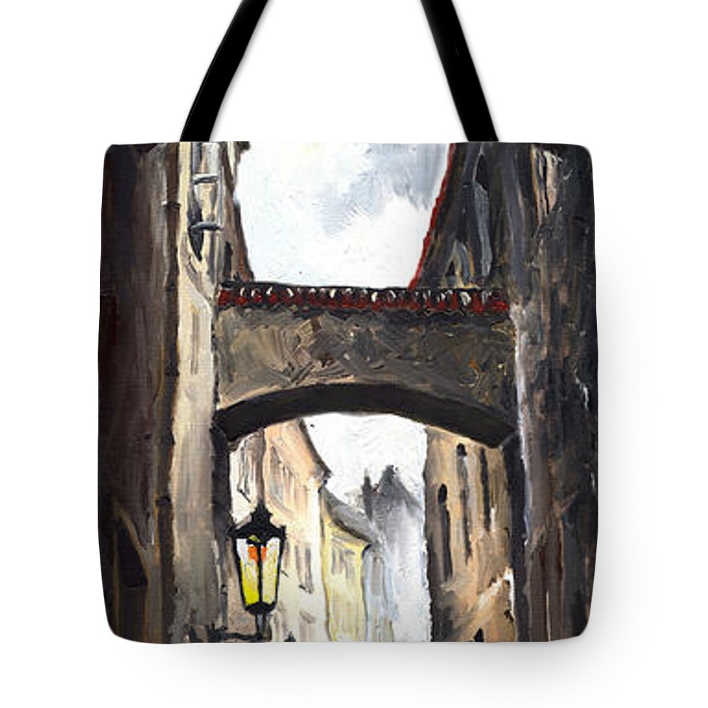 Oil On Canvas Paintings Tote Bag featuring the painting Prague Old Street 02 by Yuriy Shevchuk