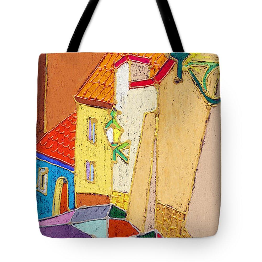 Pastel Tote Bag featuring the painting Prague Old Street Ceminska Novy Svet by Yuriy Shevchuk