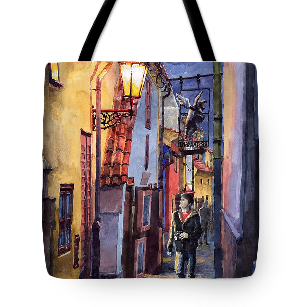 Goldenline Tote Bag featuring the painting Prague Old Street Golden Line by Yuriy Shevchuk