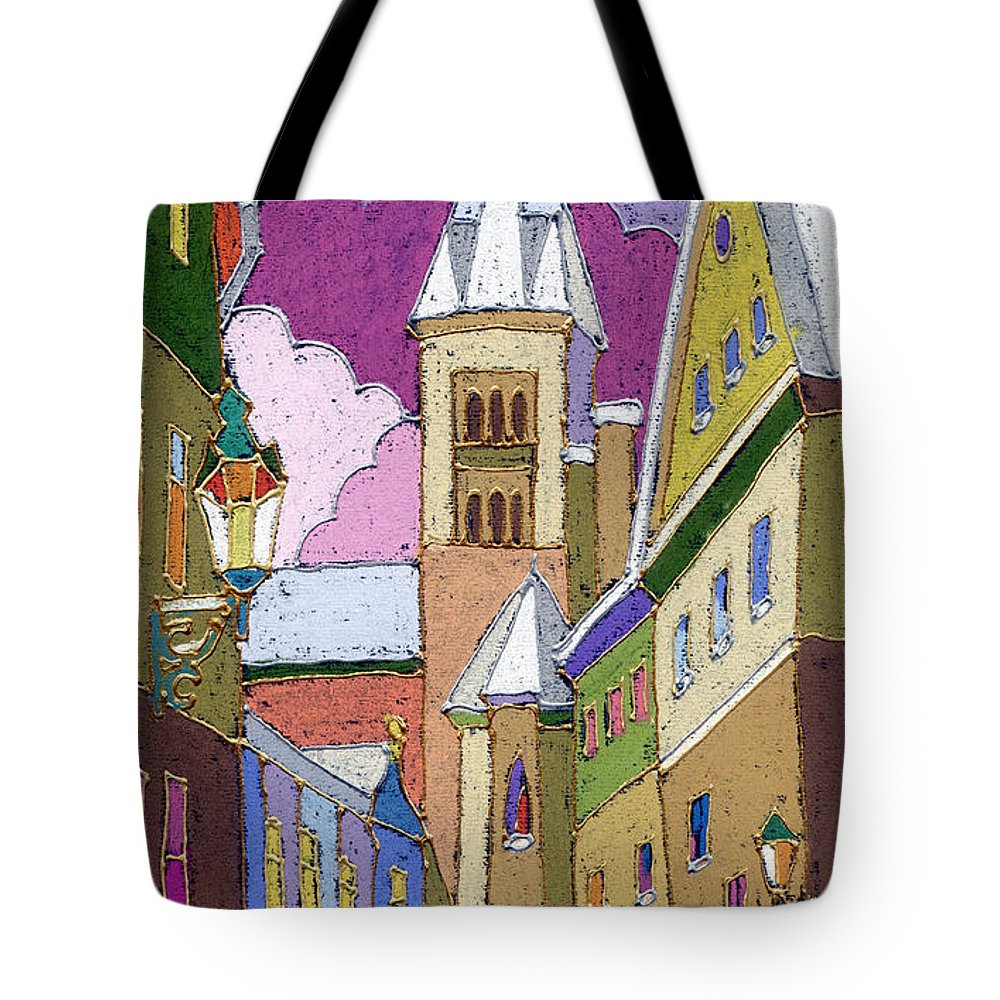 Pastel Tote Bag featuring the painting Prague Old Street Jilska Winter by Yuriy Shevchuk