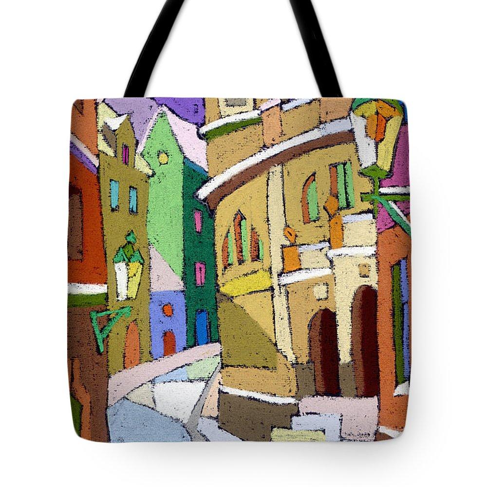 Pastel Tote Bag featuring the painting Prague Old Street Karlova Winter by Yuriy Shevchuk