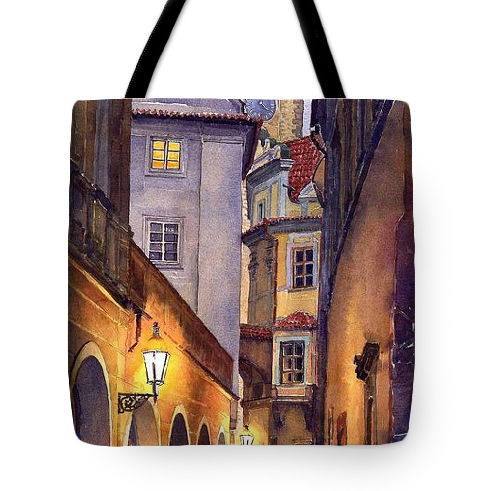 Cityscape Tote Bag featuring the painting Prague Old Street by Yuriy Shevchuk