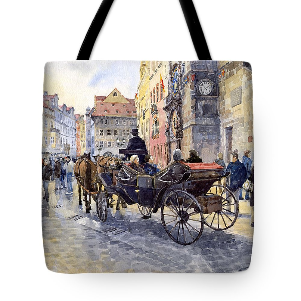 Watercolour Tote Bag featuring the painting Prague Old Town Hall And Astronomical Clock by Yuriy Shevchuk