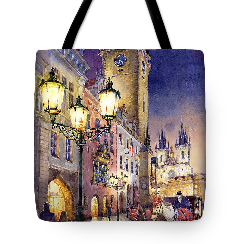 Cityscape Tote Bag featuring the painting Prague Old Town Square 3 by Yuriy Shevchuk