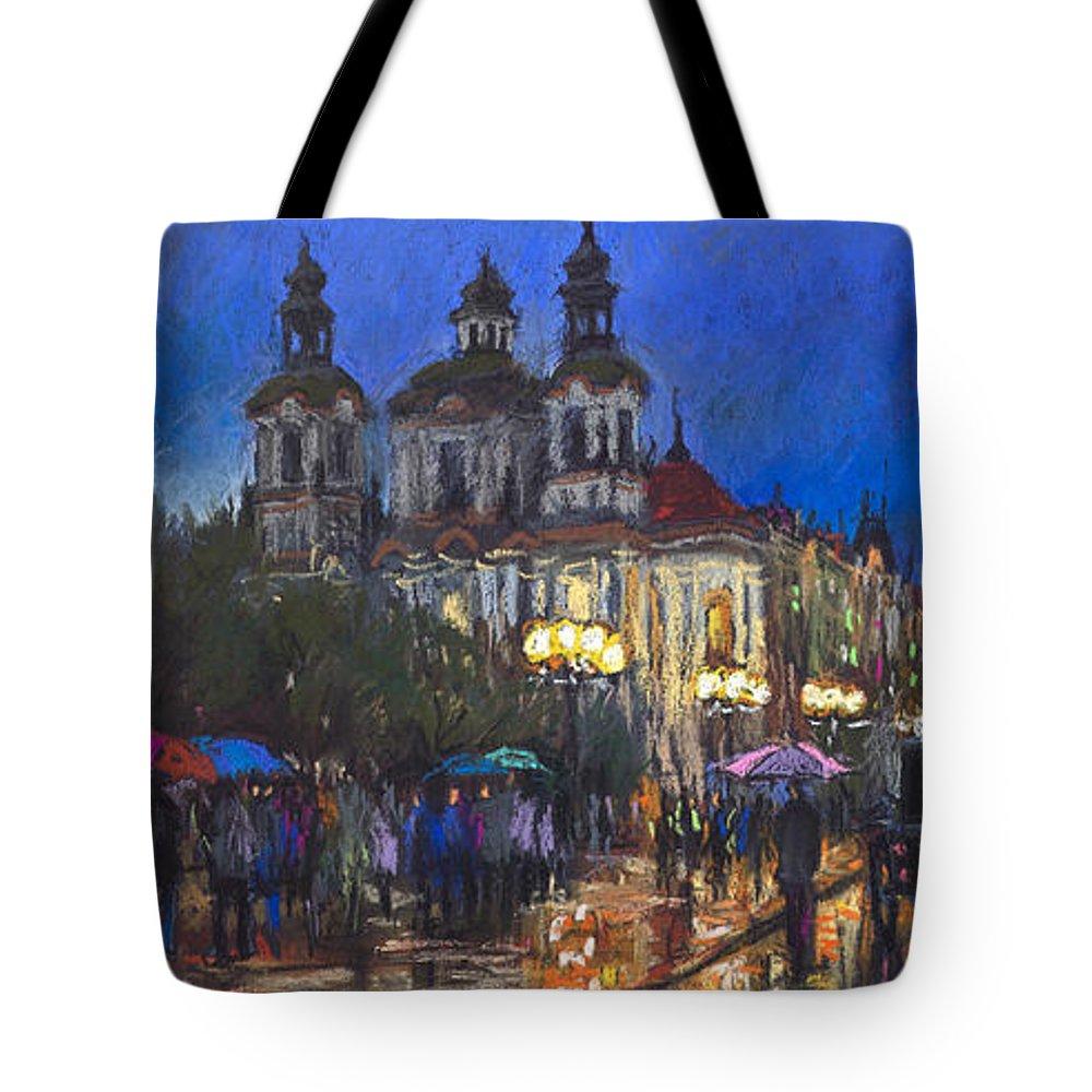 Prague Tote Bag featuring the pastel Prague Old Town Square St Nikolas Ch by Yuriy Shevchuk
