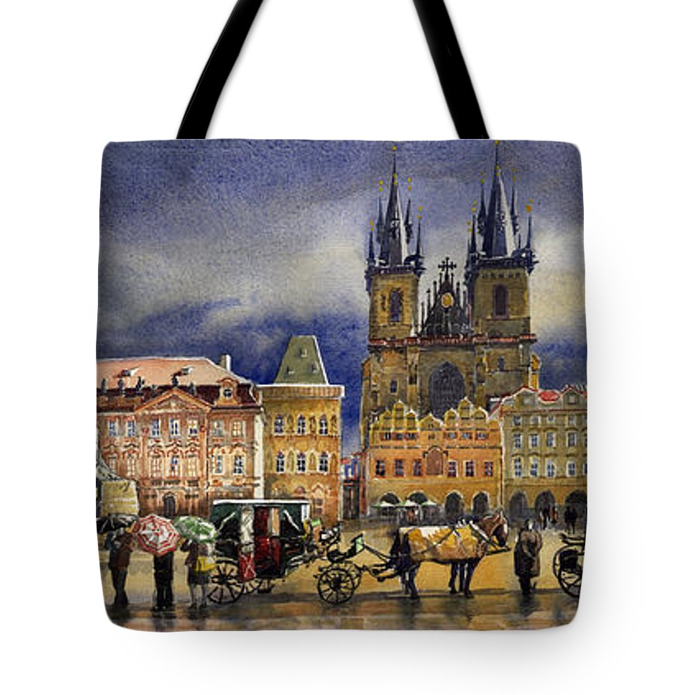 Watercolor Tote Bag featuring the painting Prague Old Town Squere After Rain by Yuriy Shevchuk
