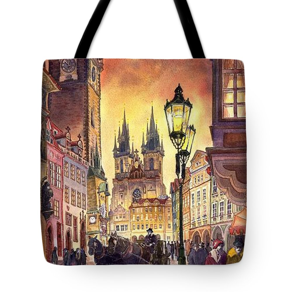 Cityscape Tote Bag featuring the painting Prague Old Town Squere by Yuriy Shevchuk