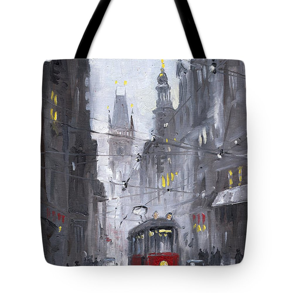 Oil On Canvas Tote Bag featuring the painting Prague Old Tram 03 by Yuriy Shevchuk