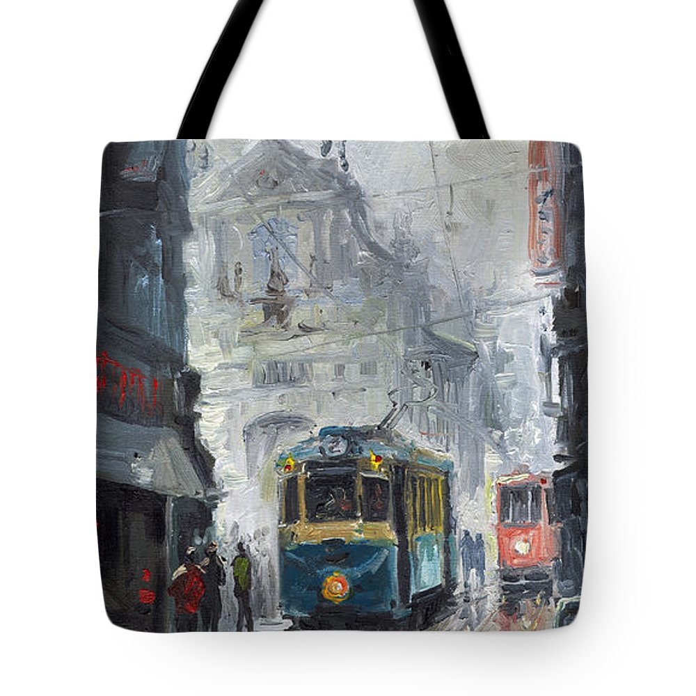 Oil On Canvas Tote Bag featuring the painting Prague Old Tram 04 by Yuriy Shevchuk