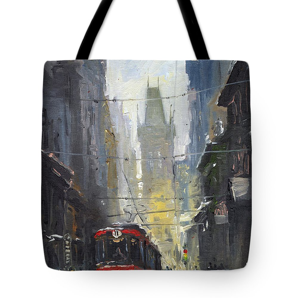 Oil On Canvas Paintings Tote Bag featuring the painting Prague Old Tram 05 by Yuriy Shevchuk