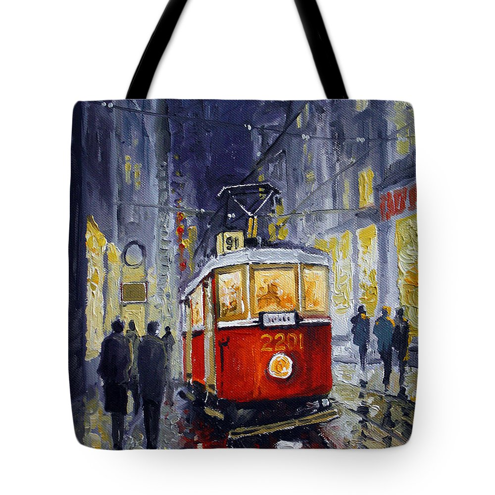 Oil Tote Bag featuring the painting Prague Old Tram 06 by Yuriy Shevchuk