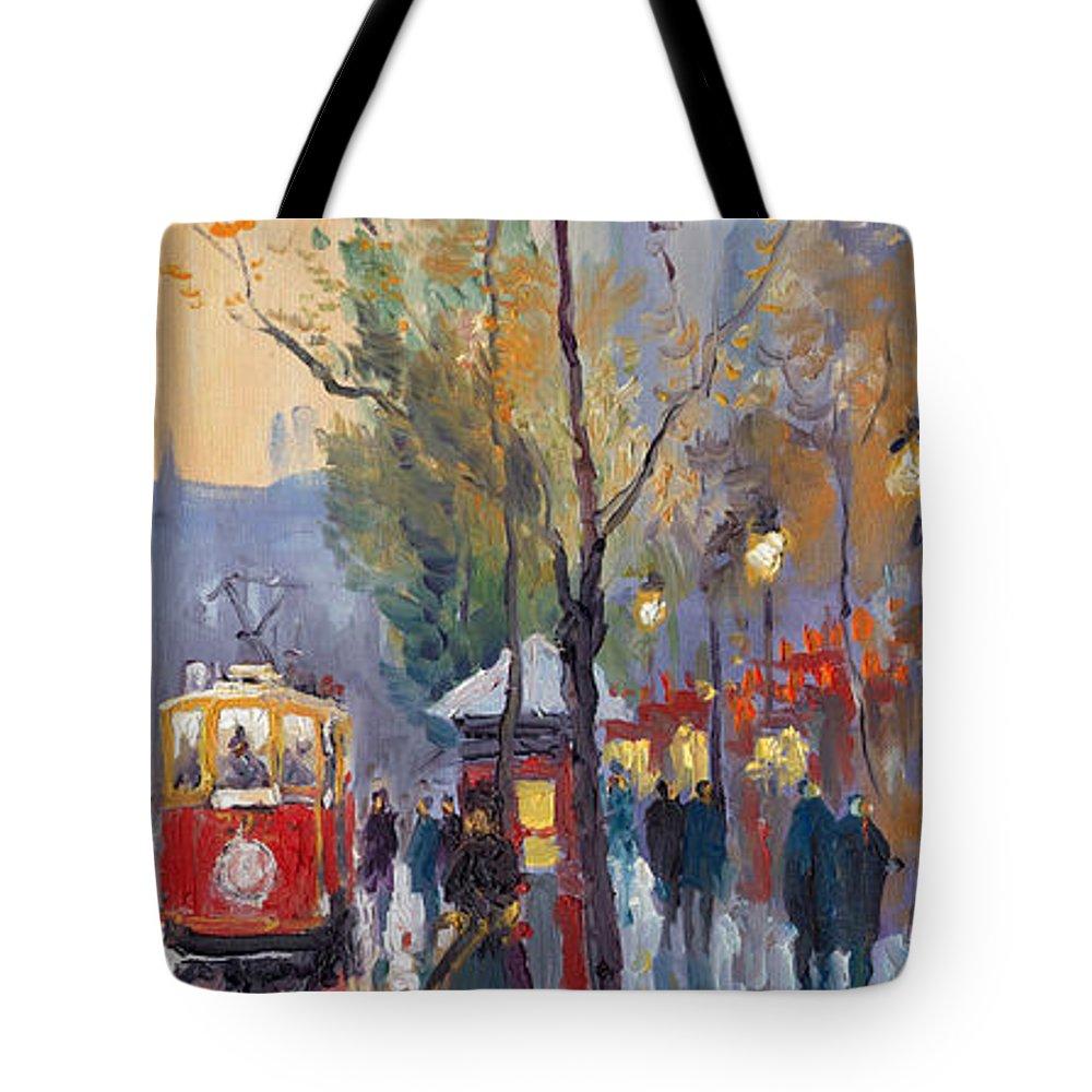 Prague Tote Bag featuring the painting Prague Old Tram Vaclavske Square by Yuriy Shevchuk