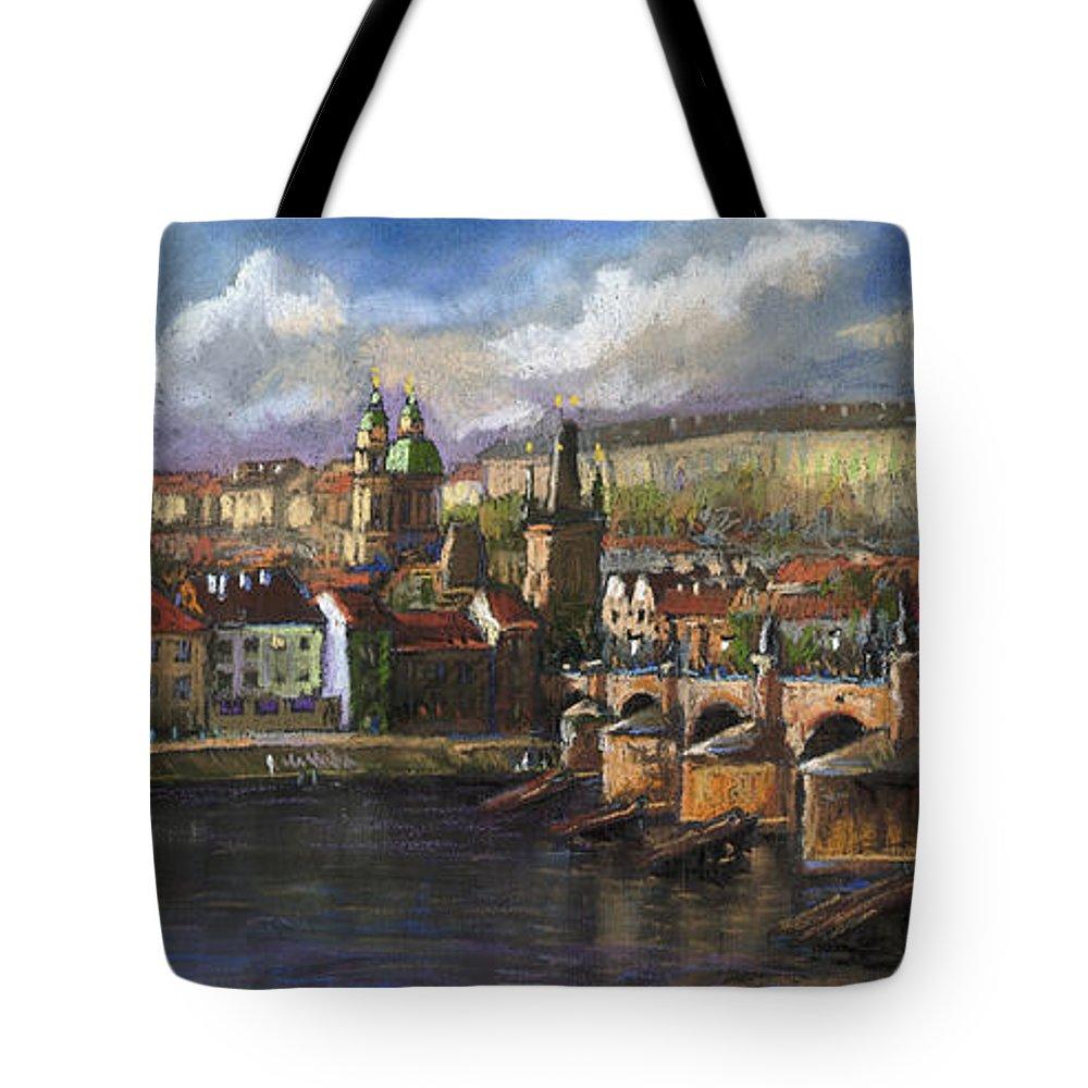Pastel Tote Bag featuring the painting Prague Panorama Charles Bridge Prague Castle by Yuriy Shevchuk