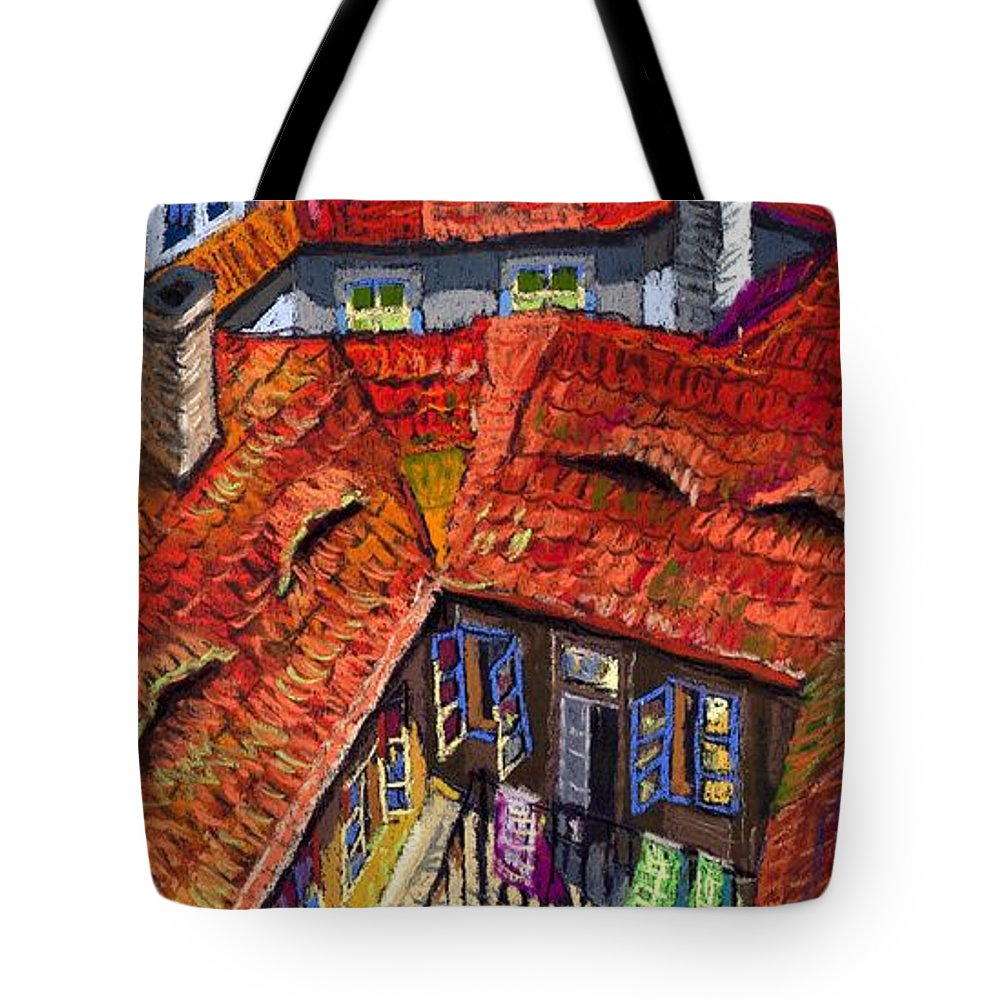 Pastel Tote Bag featuring the painting Prague Roofs 01 by Yuriy Shevchuk