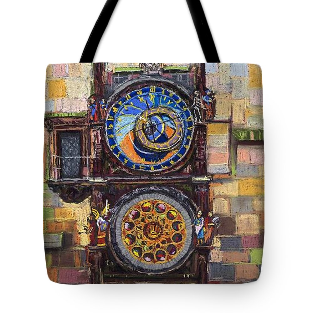 Cityscape Tote Bag featuring the painting Prague The Horologue At Oldtownhall by Yuriy Shevchuk