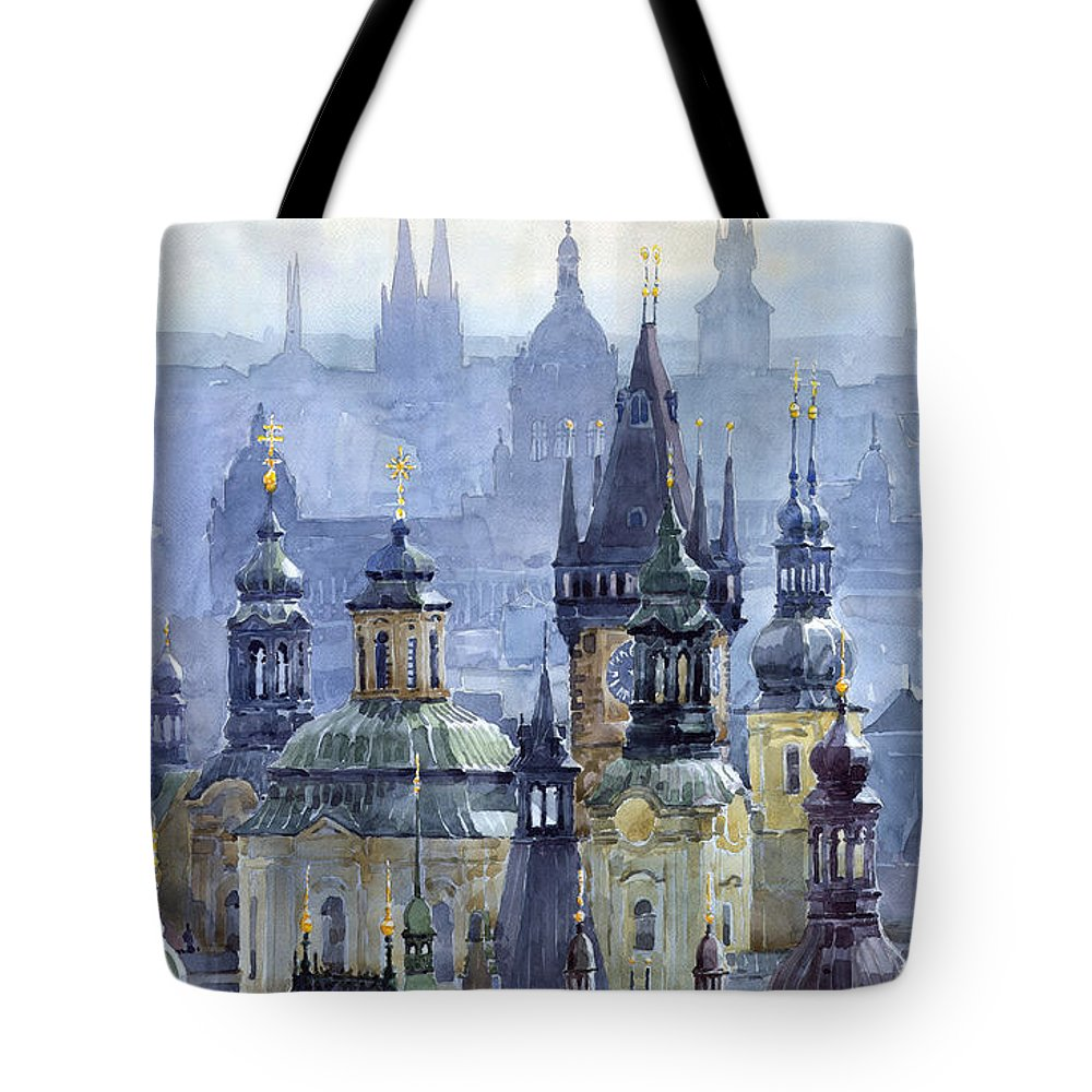 Architecture Tote Bag featuring the painting Prague Towers by Yuriy Shevchuk