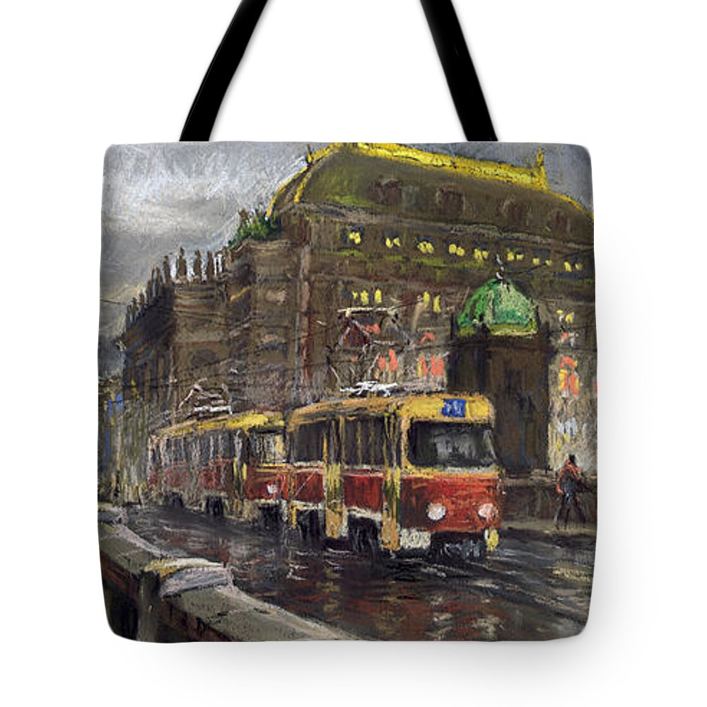 Prague Tote Bag featuring the painting Prague Tram Legii Bridge National Theatre by Yuriy Shevchuk
